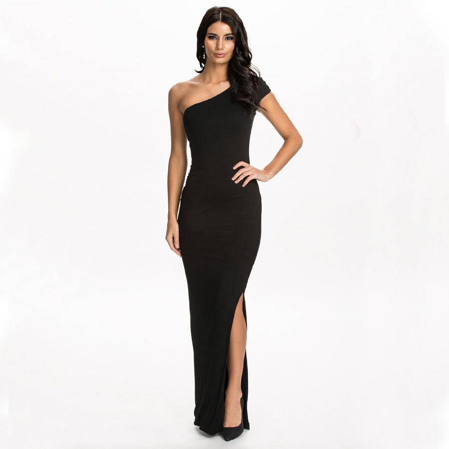 Popular Long Black Dress One Shoulder-Buy Cheap Long Black Dress ...