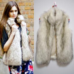 women fur Vest faux vest medium-long stand collar artificial fur coat vest(China (Mainland))