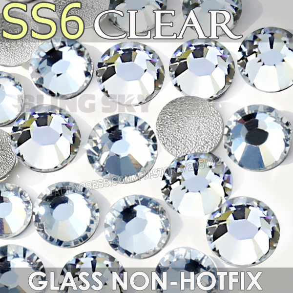 SS6 1.9-2.0mm Clear Nail Rhinestones for to Nails Art Glitter Crystals Decorations DIY Non HotFix Rhinestone Decor strass stones