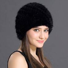 Women Winter Cap Mink Fur Real Natural Animals Knitted Pineapple Hat Head Ears Warmer Elegant Female Russian Caps  Headgear