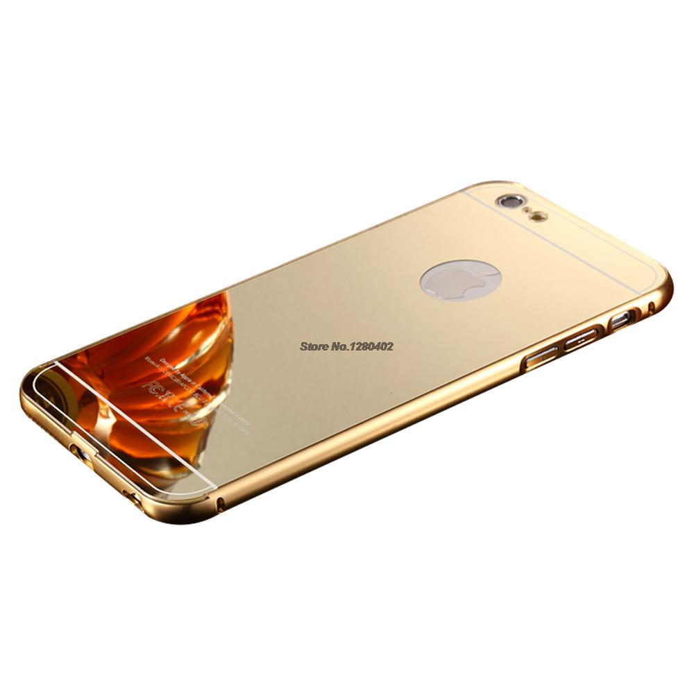 Gold Plating Alloy Acrylic Back Mirror Case For iPhone 6S Plus With Metal Aluminum Edge Cover For iPhone6+ Coque Funda Capinha(China (Mainland))