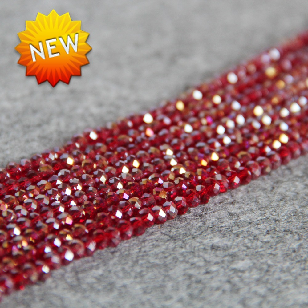 New For Necklace&Bracelet 3*4mm Faceted Red AB+ Colorful Glass Crystal Beads Stones Jasper Beads Loose 15inch DIY Jewelry Making(China (Mainland))