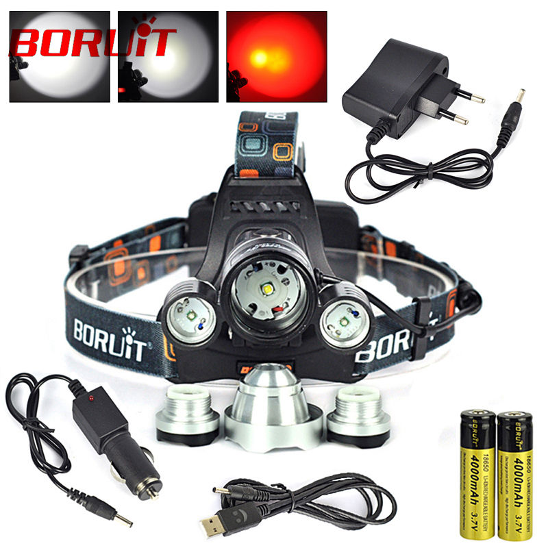 Boruit Waterproof Headlamp XML T6+XPE Red 5000 Lumens 4 Mode LED Headlight Rechargeable + Usb +Charger +Wall Charger+Battery<br><br>Aliexpress