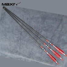 X3 80cm Craftsmans Handmade Carbon Shaft Archery Arrow+RED Turkey Feathers F Bow free shipping