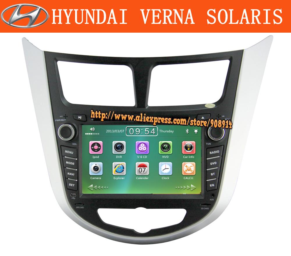 Car dvd radio for Hyundai solaris verna I25 gps with russian language menu DVD Player,Bluetooth,Built-in GPS,CD Player + ATV(China (Mainland))
