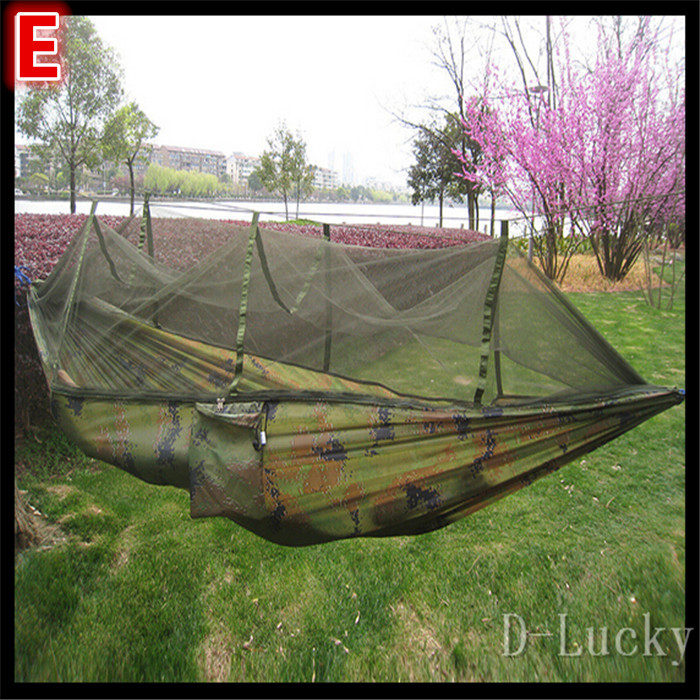 Hot Sale Load 400KG double person hammock folding outdoor hammock with mosquito net Six colors for your choice Free shipping(China (Mainland))