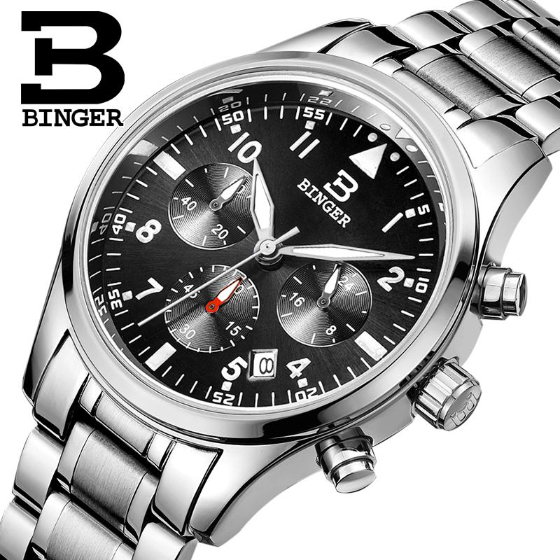 Switzerland BINGER watches men luxury brand Quartz waterproof full stainless steel Chronograph Stop Watch Wristwatches B9202-2<br><br>Aliexpress