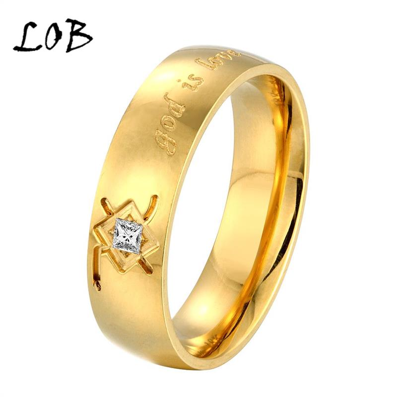 6mm Wide 18K Gold Plated Titanium GOD IS LOVE Rings For Women Men 316L Stainless Steel Wedding Engagement Bands Ring Unisex R215(China (Mainland))