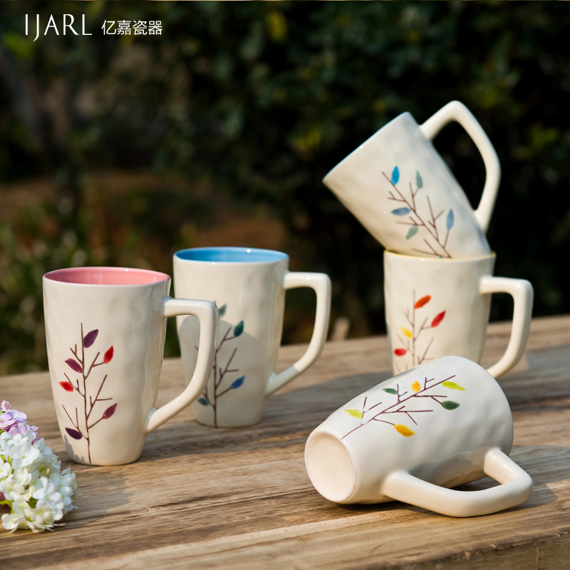 Yijia fashion ijarl ceramic mug cup milk cup cup single pack lovers Glasgow woods<br><br>Aliexpress