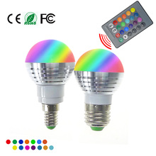 Buy RGB LED Bulbs Lamp E27 E14 AC85-265V 5W LED RGB Spot Blubs Light Magic Holiday RGB lighting+IR Remote Control 16 Colors for $1.06 in AliExpress store