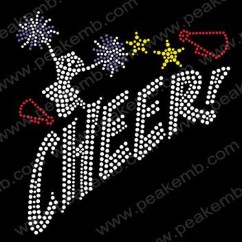 30pcs/Lot Free Shipping Bling Cheer Rhinestone Transfers Iron On Motif