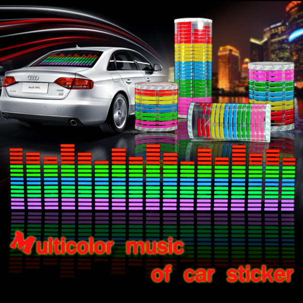 90*25CM EL Sheet Car Stickers Equalizer Music Rhythm Backlight Panel Glow different backlight 8 styles to choose freeshipping(China (Mainland))
