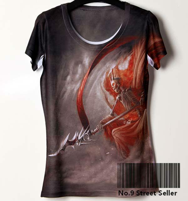 Track Ship + New Summer Vintage Retro Rock&Roll Punk Cool T-shirt Top Tee Skeleton Death Double Gun Hawk(Hong Kong)