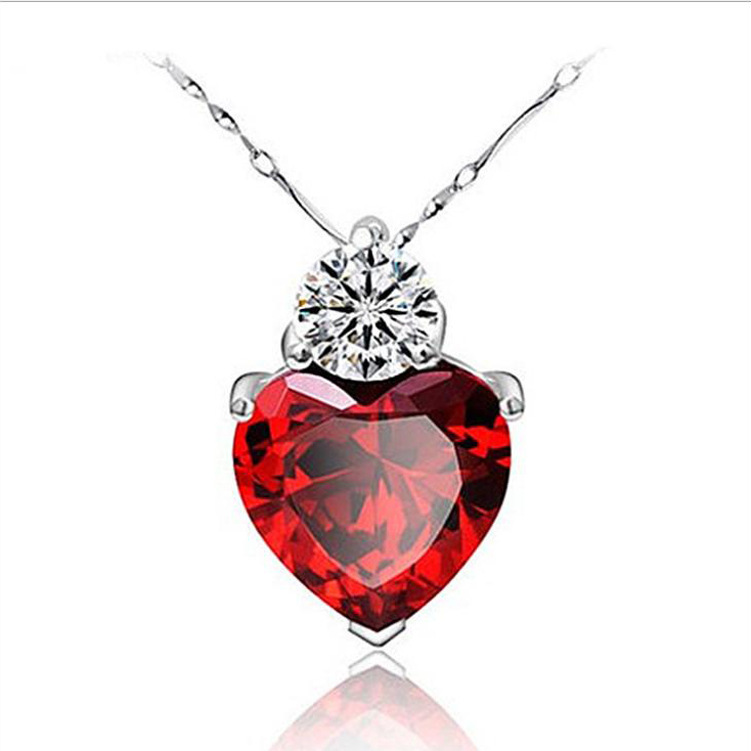 famous brand Retro fashion Necklace 925 Sterling Silver Pendant Chain ruby clavicle pomegranate Jewelry Heart girlfriend gift(China (Mainland))