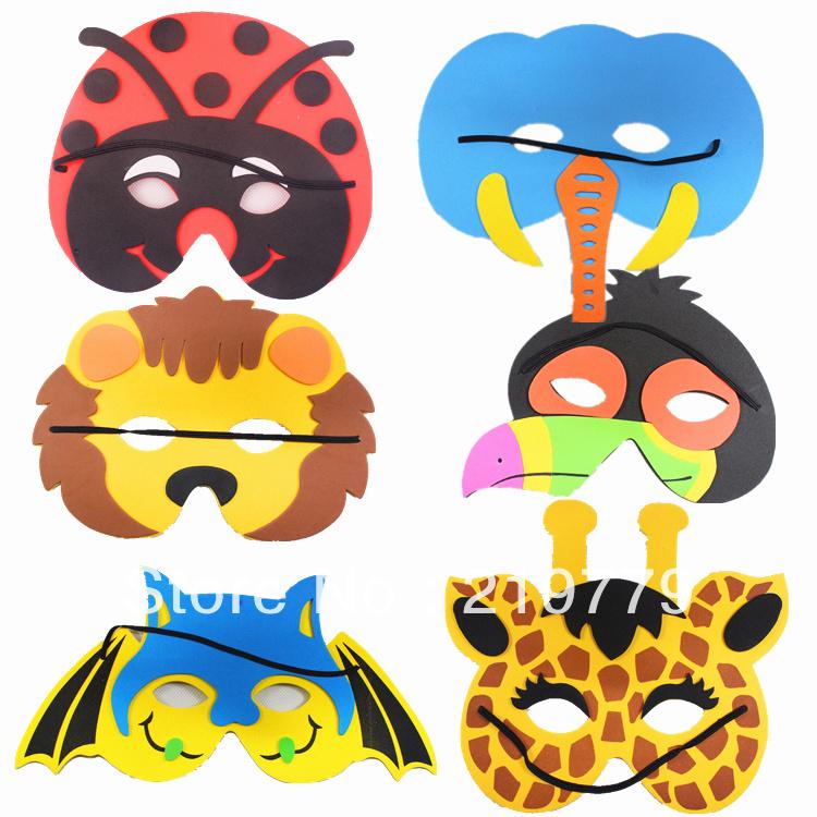 10pcs/lot Cartoon Animal EVA mask for kids Christmas Halloween Party Masks New year toys for children(China (Mainland))