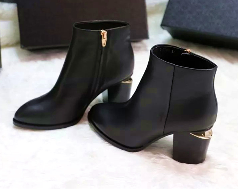 Spring Autumn Genuine Leather Gold Cut-out Heels Pointed Toe AW Ankle Boots Fashion Top Quality Women Brand Shoes <br><br>Aliexpress