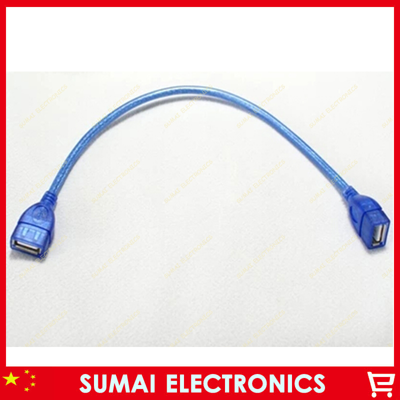 50pcs USB female to female extension cord connecting two female head blue transparent shielding net Free shipping<br><br>Aliexpress