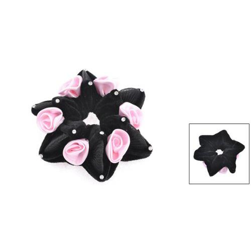 IMC Rhinestone Rose Decor Elastic Velvet Hair Scrunchie Ponytail Holder Pink Black(China (Mainland))