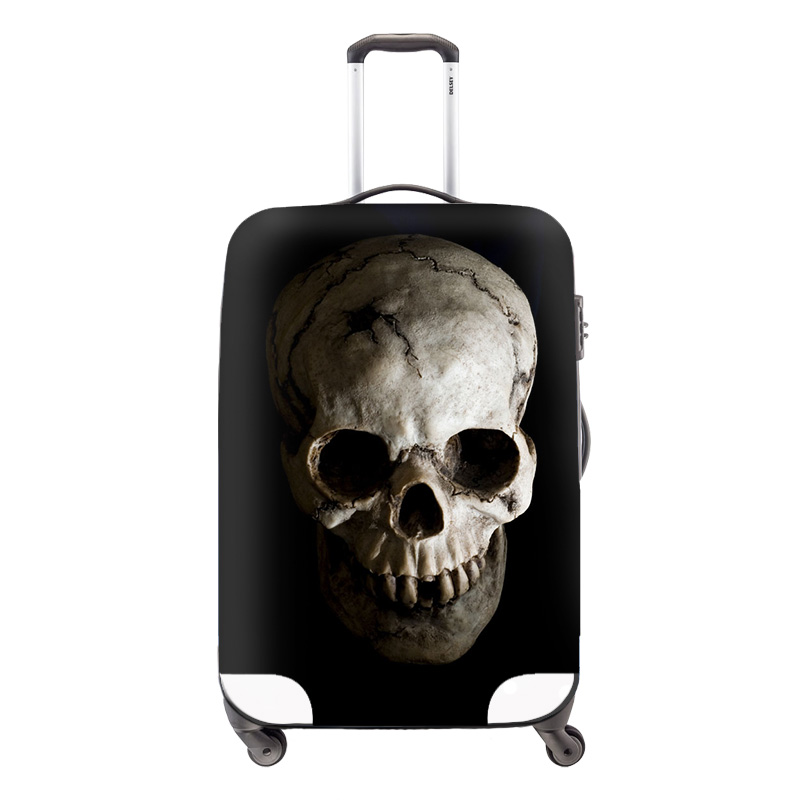 Skull Clear trolley luggage protective covers elastic polyester travel suitcase cover cool luggage cover protector for adults(China (Mainland))