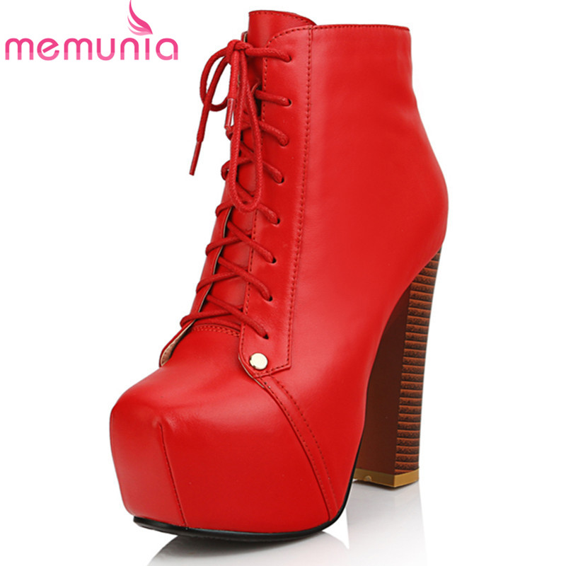 Фотография new arrive 2016 fashion thick high heel boots ankle boots for women round toe platform red black lace up ladies
