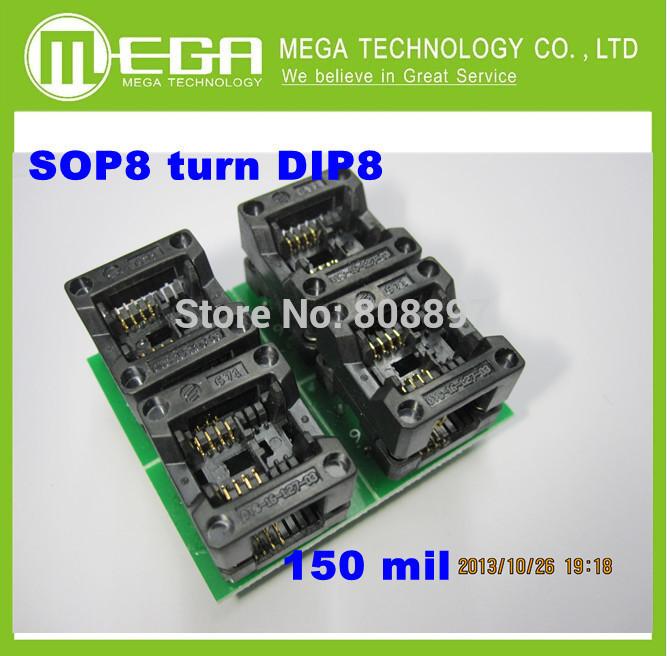 Free  Shipping 10PCS /LOT New SOP8  turn DIP8    SOIC8 to DIP8   IC socket Programmer adapter Socket 150Mil