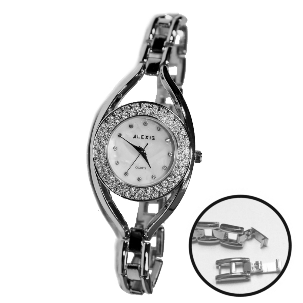 ALEXIS Brand Lovely Water Resistant FW819I Elegant Silver Watches White Dial Crystal Bracelet Watch Free Gifts Box(China (Mainland))