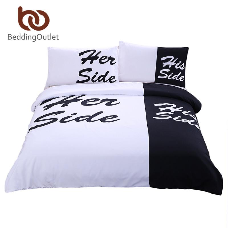 BeddingOutlet Black Bedding Set His Her Side Home Textiles