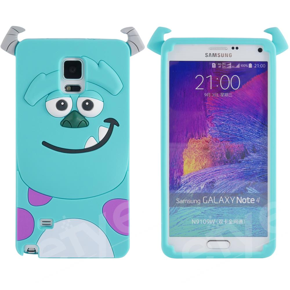 3D Cartoon Cute Case Sulley Tiger Alice/Marie Cat Silicone Cover Protector For Samsung Galaxy Note IV 4 N9100(China (Mainland))