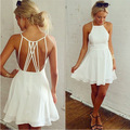 2016 Fashion Sexy Women Summer Dress Slim Halter Beach Dress Backless Casual Pecil Party Dress Cocktail