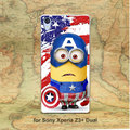 Super Cute Minions Cosplay Captain America Pattern hard transparent clear Skin Cover Case for Sony Xperia