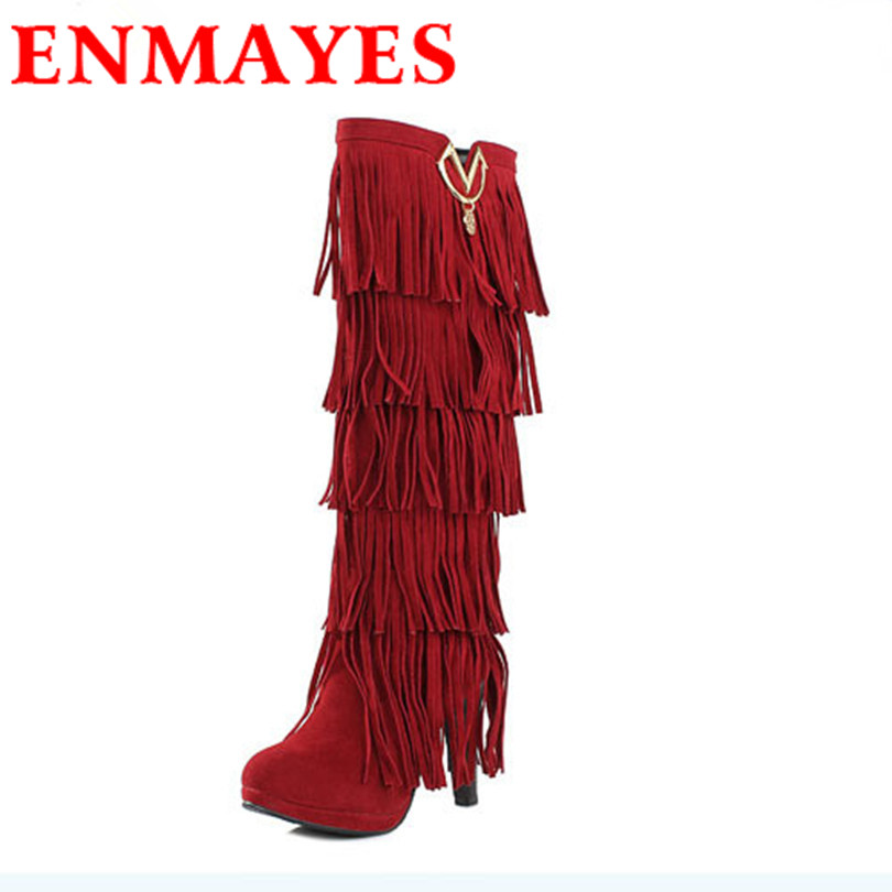 ENMAYER New winter boots for women High-heeled  Fringed Boots High-top boots sexy legs Botas Femininas Size 43 Knight boots snow<br><br>Aliexpress