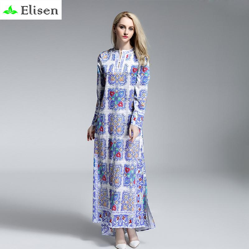Runway Dress New 2016 Fashion Summer Women V-Neck Full Sleeve Elegant Blue And White Print Ankle-Length Dovetail Loose DressОдежда и ак�е��уары<br><br><br>Aliexpress