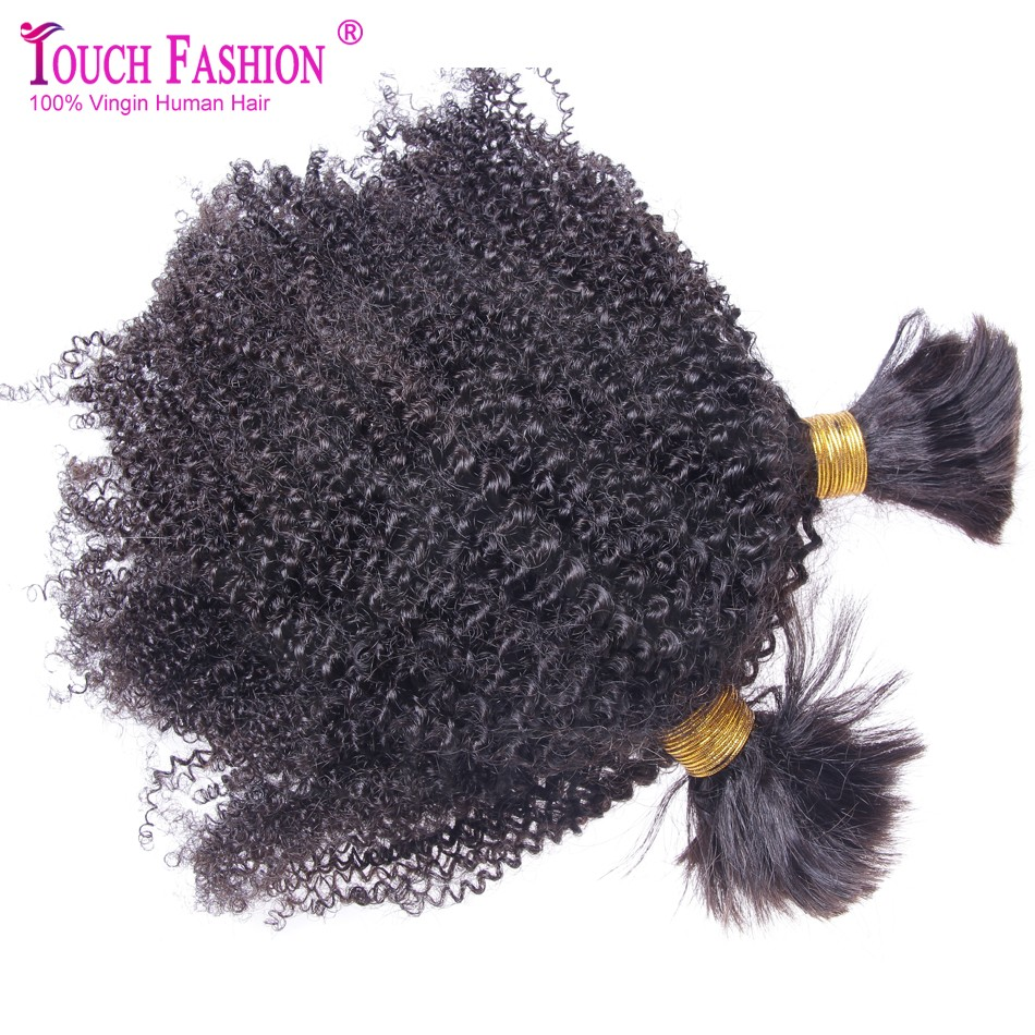 Fashion Afro Kinky Curly Hair Bulk 3pcs Lot Kinky Afro Hair Bulk for Braiding No Attachment Brazilian Virgin Hair Natural Color