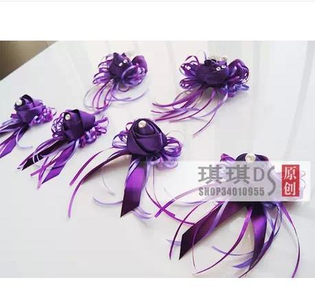 Purple rose champagne and sisters of the bride and groom a matron of honour corsage wrist take 6 times(China (Mainland))