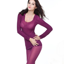 Multi-Color Autumn Women Lady Modal Fiber Slim Thin Long Thermal Underwear Set(China (Mainland))
