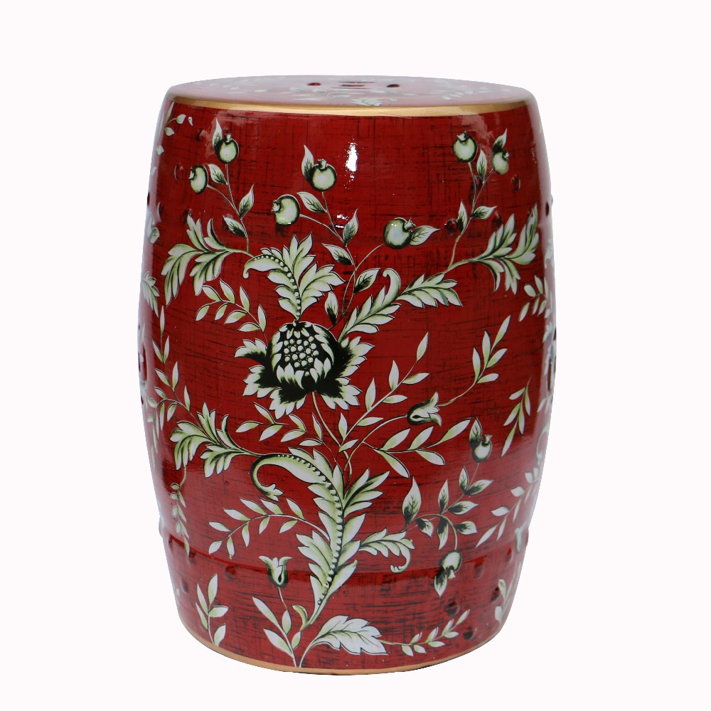 Fashion style chinese ceramic porcelain red stools with flower bird design for home and garden decoration<br><br>Aliexpress
