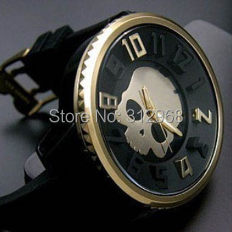 high quality authentic bid dial gold color skull silicon rubber band unisex couple lover watch free shipping(China (Mainland))