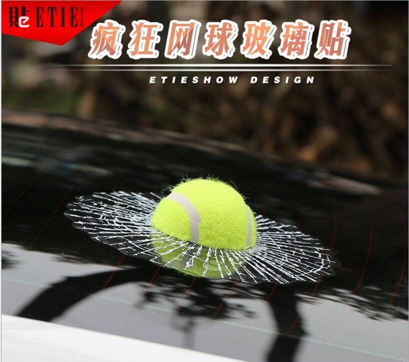 10pcs Window Tennis Car Body Sticker Design Self Adhesive Baseball Car Styling Ball Hits Car 3d(China (Mainland))