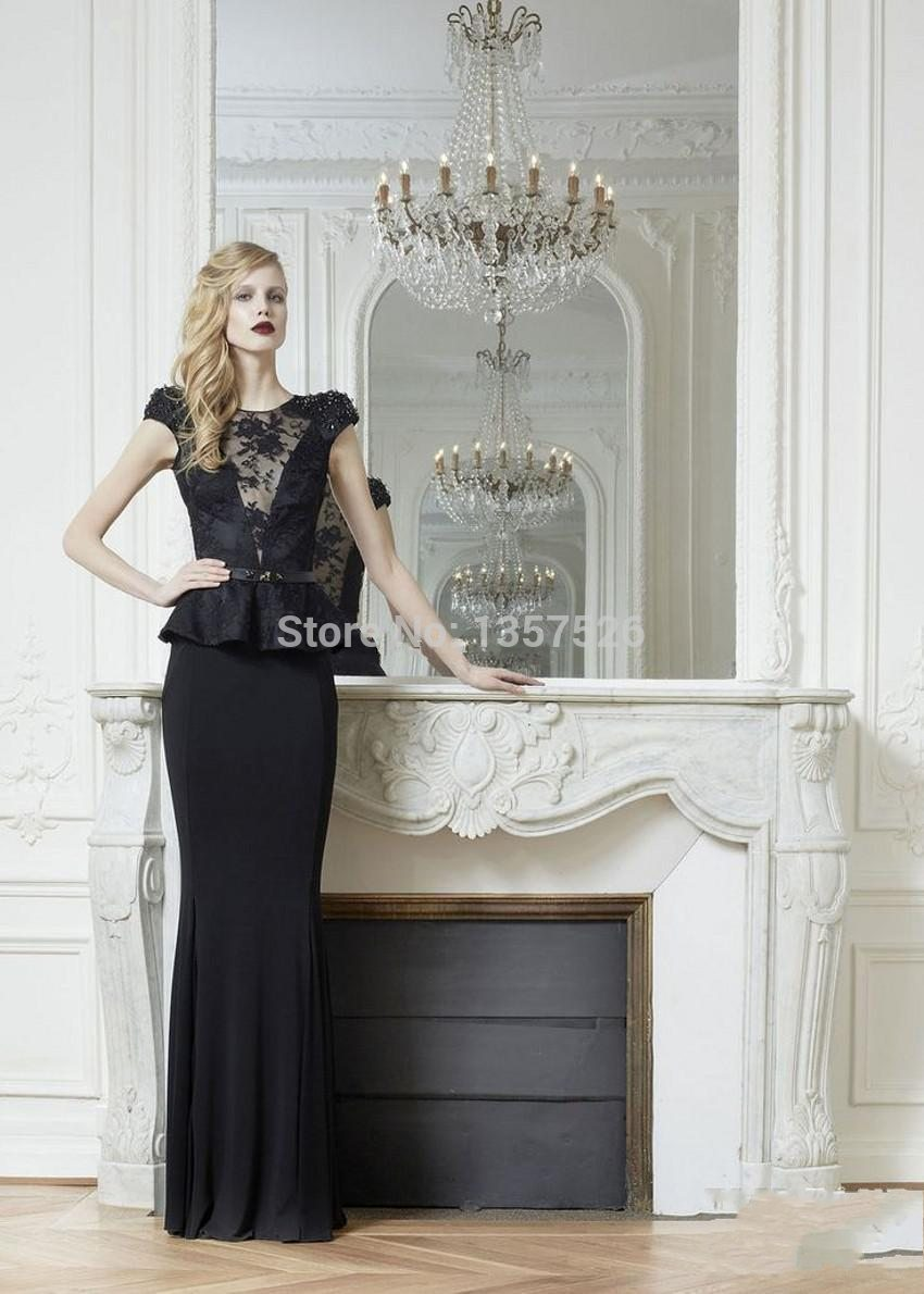 2015 Vintage Black Short Sleeve Evening Dresses Sheath Formal Dress Pleats Lace Applique Sash Pageant Gown Custom Made TT065()