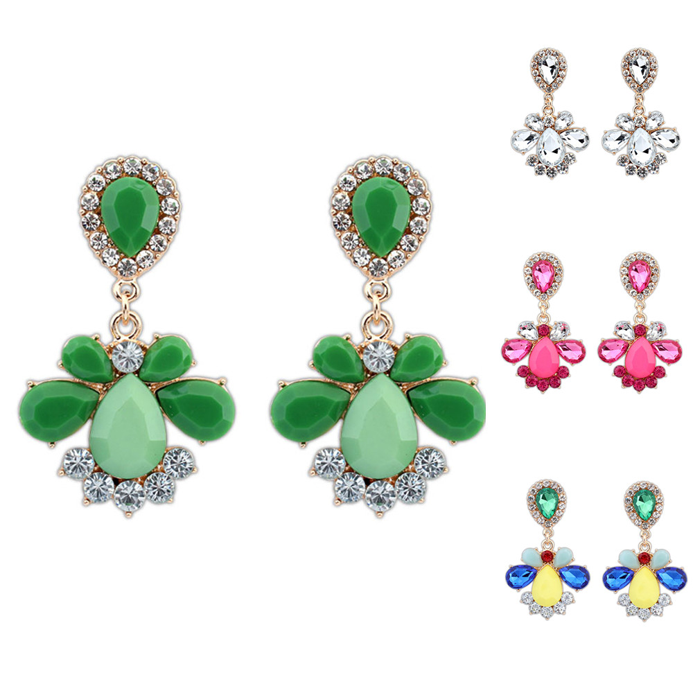 4 colors fashion vintage big earrings for