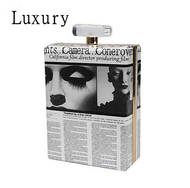 New Fashion Women Luxury 3D Lip Print Perfume Bottles Handbag Ladies Frame Day Clutch Wedding Party Evening Bag(China (Mainland))