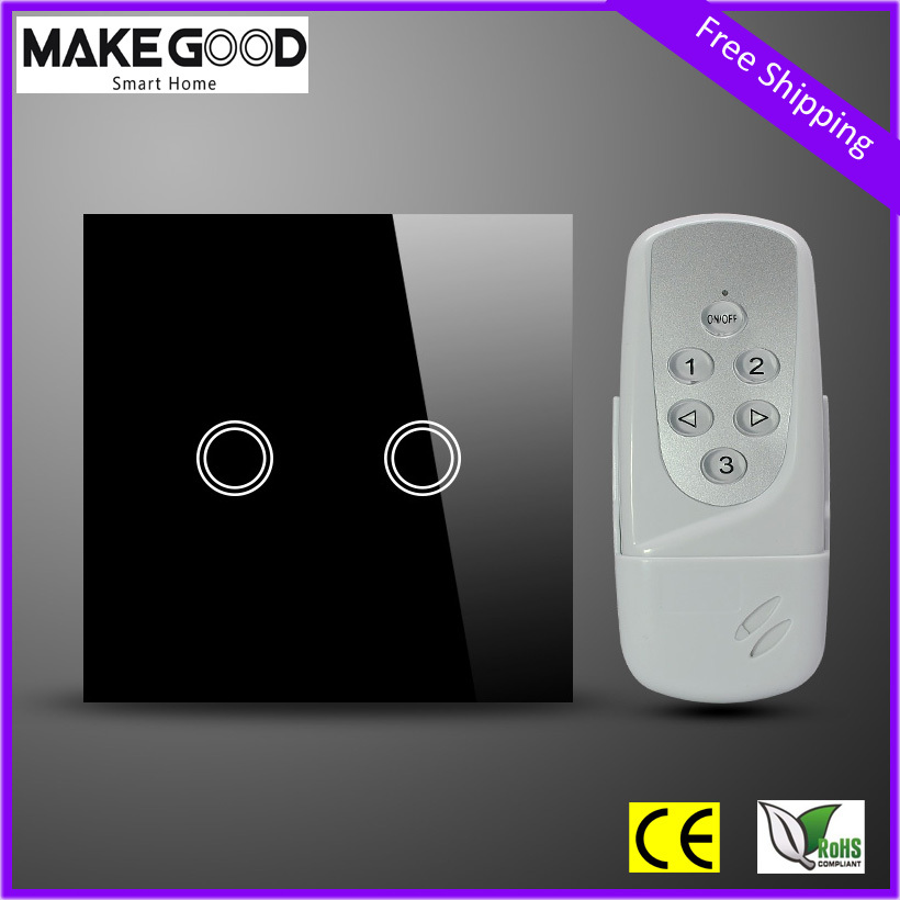 EU Style 2 Gang Remote Control Switch Crystal Glass Panel Smart Home Touch Wall Light LED Indicator - MakeGood store