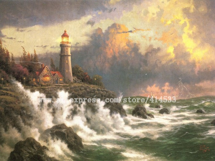 Thomas Kinkade prints original oil painting Conquering the storms seascape Lighthouses painting wall decor Free shipping(China (Mainland))