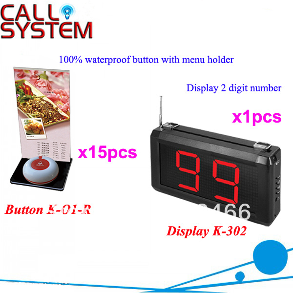 Remote Call Bell System K-302+O1-R+H for restsaurant with 1-key call button with menu board and display DHL free Shipping(China (Mainland))