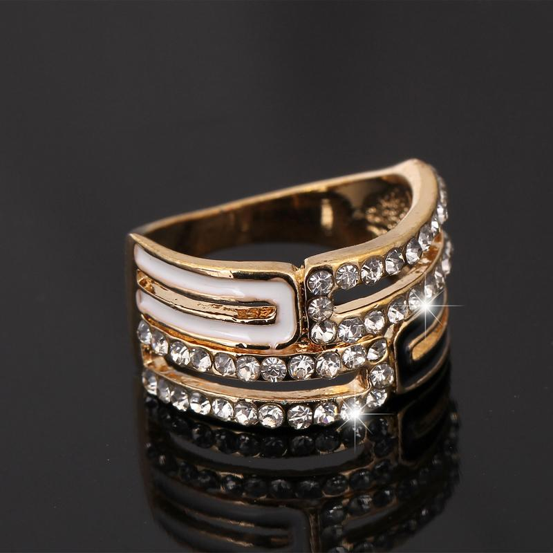 Luxury 18K Gold Plated Austrian Crystal Engagement Rings/Promise Ring. Chunky Enamel drip oil rhinestone wedding rings for women(China (Mainland))