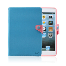 Contast Color PU Leather Wallet +Soft TPU Stand Leather Bag Case Cover For Ipad Mini(China (Mainland))