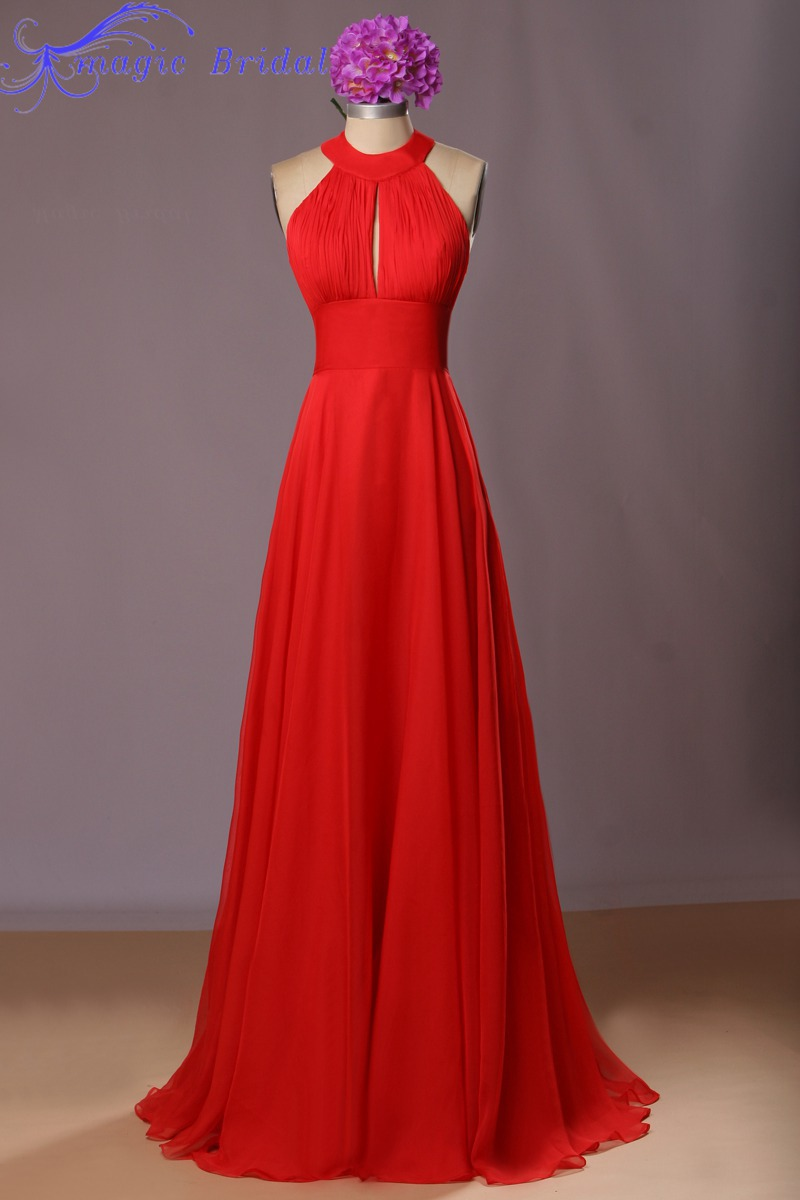 Hot red long chiffon bridesmaid dresses 2016 halter for Summer style wedding dresses