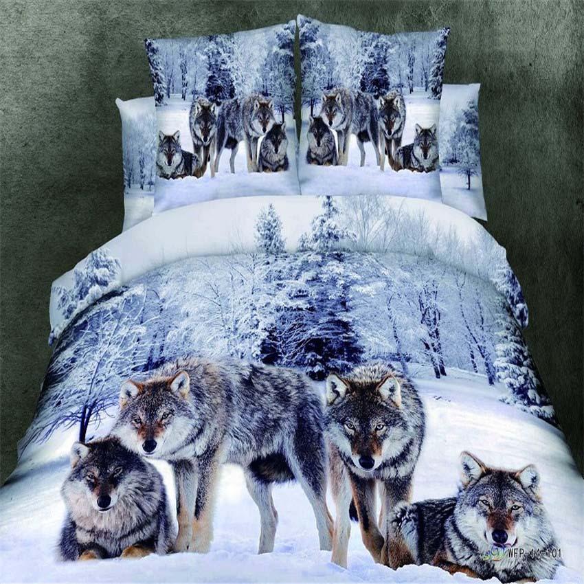 3D Wild animals wolf tiger lion leopard 100% cotton quality 4pcs man comforter/duvet cover bedsheet pillowcase bedding set/2387(China (Mainland))