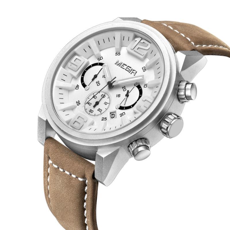 Megir Brand Luxury Men Casual Quartz Watches Chronograph 24 Hours Function Brown Matte Leather Strap Mens Watch Wristwatches