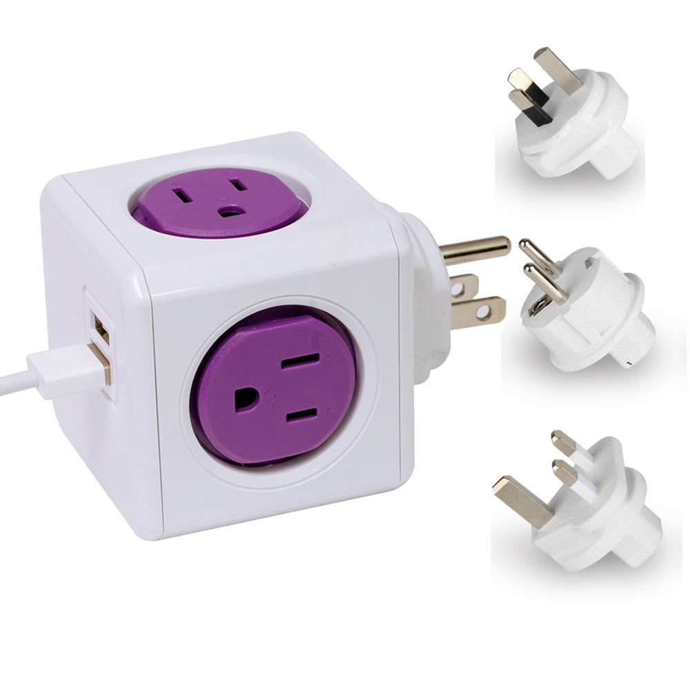 Allocacoc Power Cube Socket 4 Jacks + 2 USB Outlets Ports Plug Flexible Switch For US Purple Portable Power Intelligent Socket(China (Mainland))